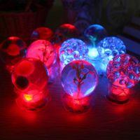 2014新款特价发光水晶球夜光灯七彩小夜灯多彩圆形工艺品厂家批发