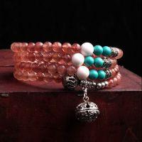 东海水晶 水晶批发AA级天然草莓晶配藏银砗磲绿松石108颗佛珠手链