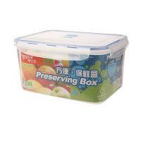 龙士达4.4L透明塑料冰箱保鲜盒密封储物盒微波饭盒便当盒