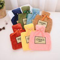 韩版香水蝴蝶结热水袋 注水暖手宝 毛绒橡胶暖手袋 保暖暖水袋