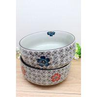 日式和风手绘釉下彩8寸陶瓷面碗超大汤碗青花餐具家庭套装排骨碗