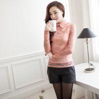 2014春季新款雪纺衫女装蕾丝打底衫春秋长袖时尚小衫上衣