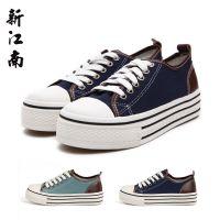 新江南正品飞耀女式韩版低帮硫化鞋 牛皮拼接女学院风帆布鞋