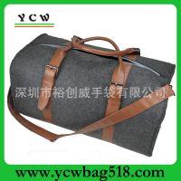 供应OEM加工定做毛毡料旅行包 高档手提旅行包 外贸单肩旅行包