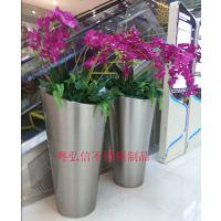 江苏购物中心不锈钢装饰花盆 专业加工不锈钢线合花盆 精美 环保
