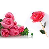24k镀金玫瑰花 真鲜花镀金粉色 婚庆 送情人朋友 节日礼物