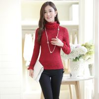 2014秋冬季新款韩版时尚修身蕾丝堆堆领长袖T恤加绒加厚打底衫女
