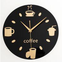 厨房餐厅休闲 时尚创意 咖啡豆杯餐具挂钟 刀叉墙面壁时钟 酒吧