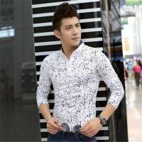 2014秋季新款韩版男纯棉长袖T恤男士时尚修身立领打底衫休闲t恤衫
