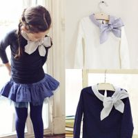 2014秋季新款韩版学院风长袖T恤打底衫外贸童装一件代发