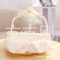 厂家批发定做 结婚道具 气氛布置 满天星蕾丝花童伴娘手提花篮