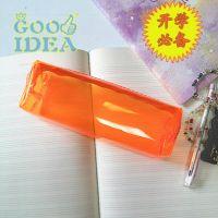 韩国糖果色可爱荧光色笔袋,大容量笔袋 韩版清新透明学生铅笔袋