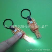 【来图定制】卡通加菲猫PVC按灯钥匙扣 广告led灯钥匙扣 带灯扣