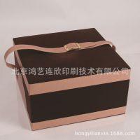 鸿艺定制  单提手皮质礼品盒 褐色包装盒 月饼盒红酒盒