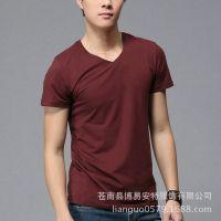 供应商务纯色男T恤 特殊工艺尺码T恤可订做 经典永不过时男打底衫