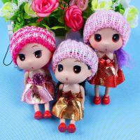 毛线帽子双辫子娃娃挂件 大眼睛娃娃钥匙包包配饰 公仔 装饰