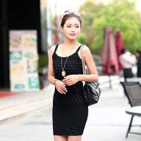 2014夏装新款女装丝光棉吊带打底衫拇指针织衫包臀裙 吊带连衣裙