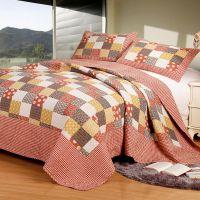 米悦 外贸纯棉可水洗绗缝被床盖三件套 美式田园空调被全棉夏凉被