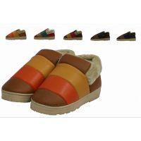 冬季新款 拼色棉拖鞋 包跟厚底防滑防水家居棉鞋 家居鞋棉鞋批