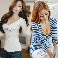2014新款韩版女装性感紧修身夜店长袖t恤打底衫 批发