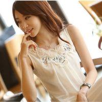 夏装 新款无袖背心吊带打底衫褶皱白色雪纺衫 衬衫 T恤衫小衫G026