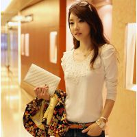 2014秋季韩版泡泡长袖修身显瘦T恤女士蕾丝花边V领打底衫大码