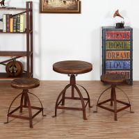 老松木家具 小圆几 做旧餐桌椅美式loft实木圆茶几 边桌 咖啡桌