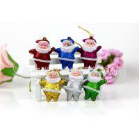 圣诞节老人挂件 圣诞树装饰挂件 金粉小挂件装饰 6个一包厂家供货