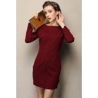 实拍5109# 秋冬新款欧美修身长袖连衣裙纯色简约加厚连衣裙