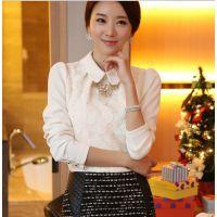 2015新款蕾丝衫女大码长袖春装韩版女装修身衬衫雪纺衫