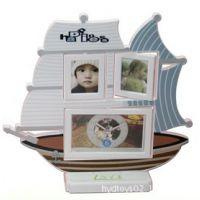 帆船卡座塑料相架钟 一个五寸时钟和两个三寸相框 创意儿童相框