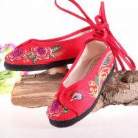 新款民族风千层底凤凰加牡丹绣花鞋 时尚休闲 散步 逛街必备