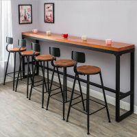 深圳餐厅吧台吧椅订购,靠墙长条实木吧台定制,现代奶茶店茶餐厅用小吧台