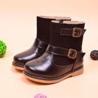 小螺号冬季新款童靴 男女童马丁靴 真皮品牌童鞋 绒里保暖雪地靴