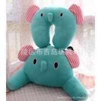 薄荷绿 忧伤马戏团大象 立体小鼻子的腰靠腰枕 小象颈枕 U型枕头