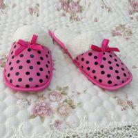 时尚新款 印点鹿皮绒 羊羔绒保暖 女士棉拖鞋 室内家居棉鞋【图】
