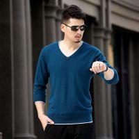 2014年新款男式毛衣百分之百纯山羊绒男士V领拼色加边羊绒衫毛衣