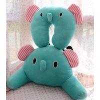 薄荷绿马戏团大象 立体小鼻子的腰靠 腰枕 颈枕 U型枕头 套装