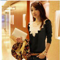 2014秋装新款韩版 女装花边烫钻泡泡袖打底衫长袖T