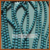 12mm松石圆珠散珠配件 DIY绿松石串珠 批发天然石圆珠松石珠 蓝色