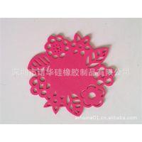 圆形镂空剪纸花纹隔热杯垫橡胶硅胶耐高温塑胶塑料橡胶弯可折餐垫