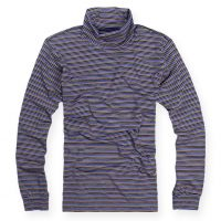 供应日本U*牌男装条纹堆堆领打底衫男士弹力舒适百搭条纹长袖T恤T377