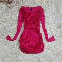 2014秋季女士 时尚真丝网纱长袖打底衫修身百搭款式T恤 一件起批