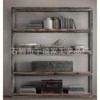 美式乡村家具铁艺置物架 复古式做旧实木书架 隔板 储物架 收纳架