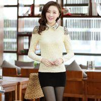 2014秋冬韩版娃娃领加绒加厚精致全蕾丝修身长袖打底衫