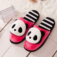 2014冬季新款可爱小熊猫棉拖鞋 软底男女家居室内拖鞋情侣地板