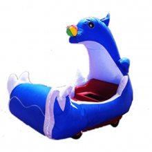 海豚喜洋洋充气电瓶车外罩 双人卡通电动气模车 广场儿童游乐电动车