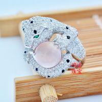 豹子925银芙蓉石戒指 银镶天然宝石水晶女戒批发粉水晶纯天然代工