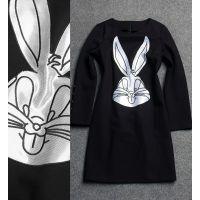 欧洲站女装2014年秋冬新款圆领卡通版兔子宽松长袖连衣裙Z1910