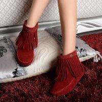 供应新款平跟平底雪地靴流苏靴甜美内增高大码西施绒短靴女靴